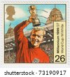 UK - CIRCA 1999 : stamp printed in UK shows Bobby Moore was an English footballer in 1966 World Cup Soccer Championship, circa 1999 - stock photo