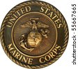 US Marine Corps commemorative plaque - stock photo