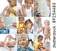 Various childrens healthcare related images in a collage - stock photo