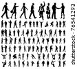 Very many high quality business people silhouettes - stock photo