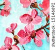 Watercolor illustration of floral background with cherry blossoms in pastell colors. Art is created and painted by photographer - stock photo