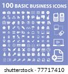 100 basic business icons, signs, vector illustrations - stock vector