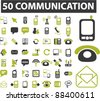 50 communication icons, signs, vector set, illustrations - stock vector