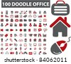 100 doodle icons, signs, vector illustrations - stock vector