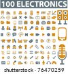 100 electronics & devices icons, signs, vector - stock vector