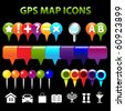 34 GPS Map Icons, Isolated On Black Background, Vector Illustration - stock vector