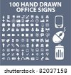 100 hand drawn office icons, signs, illustration, images, vector - stock vector
