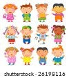 12  KIDS different nations. Vector image. - stock vector