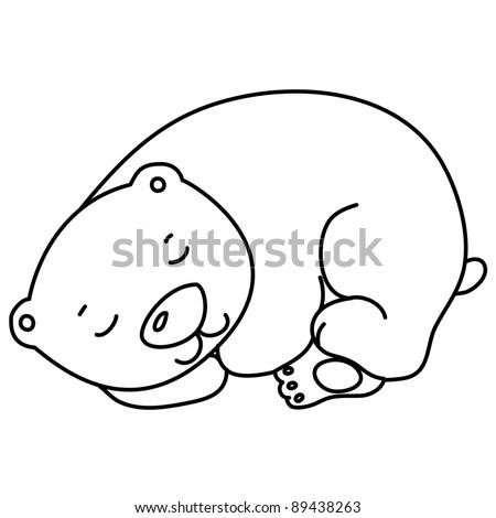 Sleeping Bear Template Little cute sleeping bear