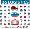 36 logistics signs. vector - stock vector