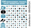 100 management & money icons, signs, vector set, illustrations - stock vector