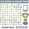 100 media & connection icons, signs, vector illustrations - stock vector