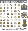 50 new education icons, signs, vector illustration set - stock vector