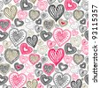 seamless wallpaper with hand drawn Valentine hearts - stock vector