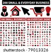 200 small & everyday business icons, signs, vector - stock vector