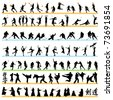 90 Sport Silhouettes Set - stock vector