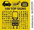 100 top office & media icons, signs, vector illustrations set - stock vector