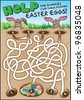 A fun easter game for children. Navigate through the maze to help the bunnies find their chocolate Easter eggs! - stock vector