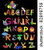 ABC. The complete childrens english alphabet spelt out with different fun cartoon animals and toys. Alphabet design in a colorful style. - stock vector