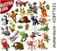 australian animals big vector set - stock vector