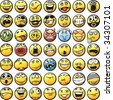 Big set of smileys: in various facial expressions. Easy to edit and transform: line-art and colors placed in different layers. - stock vector
