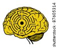 brain with labyrinth model. maze vector illustration - stock vector