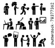 Business Finance Office Workplace People Man Working Icon Symbol Sign - stock vector