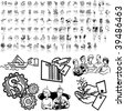 Business set of black sketch. Part 3-4. Isolated groups and layers. - stock vector