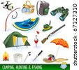 Camping, hunting and fishing - stock vector