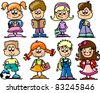 cartoon children, students - stock vector