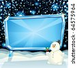 Cartoon Christmas Card with Frozen Billboard and Funny Snowman ready for greeting text - stock vector