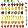Cartoon oranges, bananas, apples, strawberries,pears, cherries with emotions - stock vector