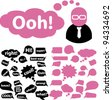 chat bubbles & stickers, labels icons set, vector - stock vector