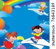 Children flying on balloons and on paper planes. Place for your text. Happy childhood. Vector art-illustration. - stock vector