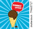 Chocolate fresh ice cream with nuts in a cone, summer offer concept, vector illustration - stock vector