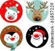 Christmas characters - Santa, reindeer, penguin and polar bear - stock vector