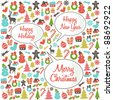 Christmas Pattern with Speech Bubbles - stock vector