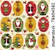Christmas seamless pattern with balls , deer, Santa, elf, deer,bell, tree and present - stock vector