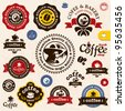 Coffee badges and labels. Bakery and Coffee shop vector sign set. Premium quality coffee sign. Coffee Man emblem. - stock vector