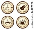 coffee break stamps set - stock vector