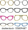 Collection glasses for every taste!. Simply dress them on the nose! - stock vector