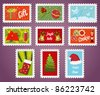 Collection of christmas post stamps. Vector illustration. - stock vector