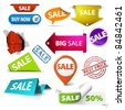 Collection of colorful vector sale tickets, labels, stamps, stickers, corners, tags on white background - stock vector