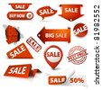 Collection of red sale tickets, labels, stamps, stickers, corners, tags on white background - stock vector
