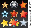 Collection of Star Shaped Design Elements, Icons, Buttons, Logos. - stock vector