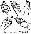 Communication icons: Hands with cell phones. - stock vector