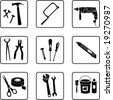 construction tools black and white silhouettes  (also available in raster format) - stock vector