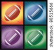 Different american footballs on the bright  background with lines - stock vector