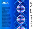 DNA molecule. Text on image only sample and  have not sense, generate special program - stock vector
