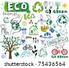 ECO vector set - doodles and inscriptions - stock vector